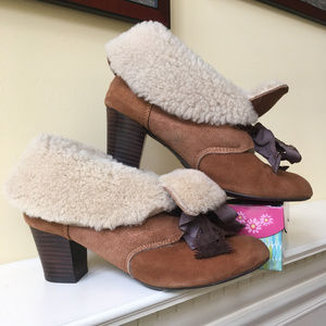 Anthropologie Miss L Fire Suede Shearling Shoes